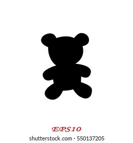 teddy bear, toy, icon, vector illustration eps10