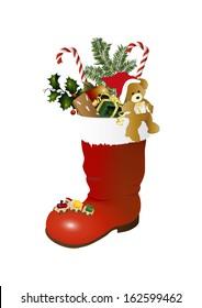 Teddy bear, Train and christmas boot