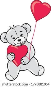 teddy-bear-two-hearts-vector-260nw-17938