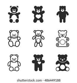 Teddy bear vector icons. Simple illustration set of 9 teddy bear elements, editable icons, can be used in logo, UI and web design description