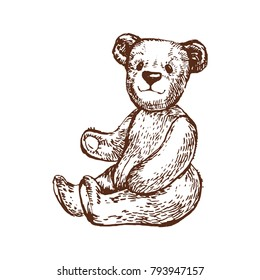 Teddy Bear vintage toy Ink hand drawn line art stock vector illustration doodle outline sketch coloring book page