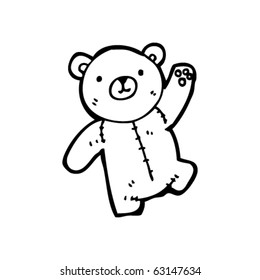 teddy bear waving cartoon