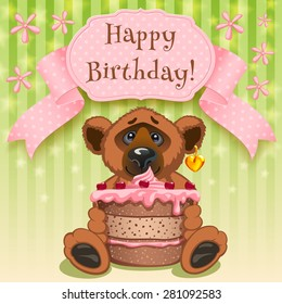 Teddy Bear wishes  Happy birthday and gives a birthday cake