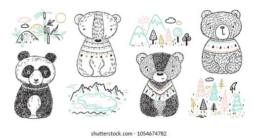 Teddy Bears and Animal Habitat Vector Set. Hand drawn Doodle Cute Baby Panda, Polar bear, Grizzly, Brown Bear. Cartoon tribal Animals Vector illustration. T-shirt print Scandinavian design for kids.