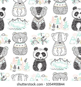 Teddy Bears and Animal Habitat Vector Seamless Pattern. Scandinavian style Background for Kids with Hand drawn Doodle Cute Baby Panda, Polar bear, Grizzly, Brown Bear. Cartoon tribal Animals