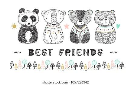 "Teddy Bears with ""Best Friends"" Phrase Vector card. Hand drawn Doodle Cute Baby Panda, Polar bear, Grizzly, Brown Bear. Cartoon tribal Animals. T-shirt print Scandinavian design for kids"