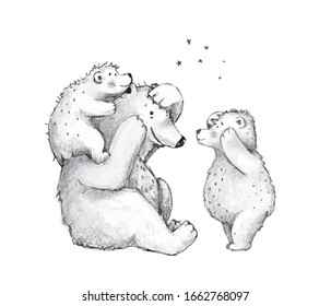Teddy bears family mother of dad playing with cubs, hand drawn pencil monochrome sketch illustration.Adorable bear mom or father with bear cubs together silly game, humour sketchy drawing vector.