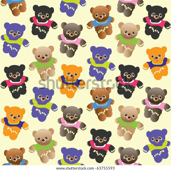 Teddy bears seamless pattern for kids
