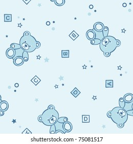 Teddy bears seamless pink background with alphabetical cubes, hearts and flowers. Vector illustration.