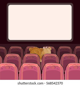Teddy bears are watching a movie