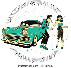 Teddy boy and a Rockabilly pinup chick dancing in front of a hotrod isolated on white