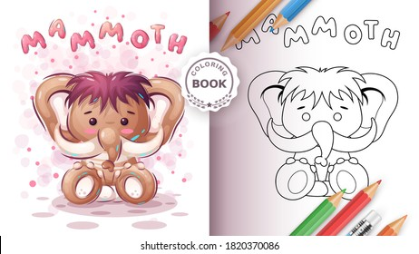 Teddy mammoth - coloring book for kind and children. Vector eps 10