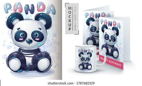 Teddy panda poster and merchandising. Vector eps 10