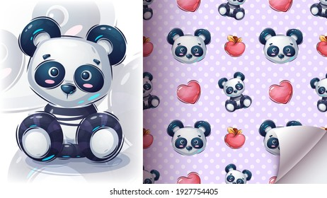 teddy panda seat - seamless patern. Vector eps 10