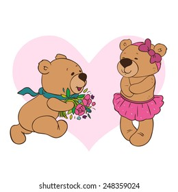 Teddy-bear runs to his beloved with flowers