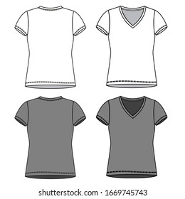 TEE fashion flat sketch template