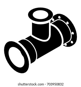 Tee pipe icon. Simple illustration of tee pipe vector icon for web