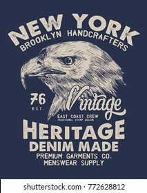 tee print design with eagle head drawn as vector