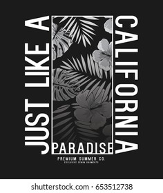 tee print design with palm leaves and typo as vector