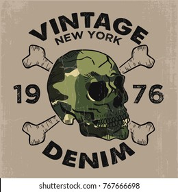 tee print design as vector with camouflage and skull