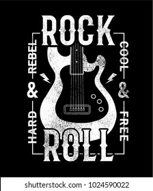 tee print design as vector with guitar drawn