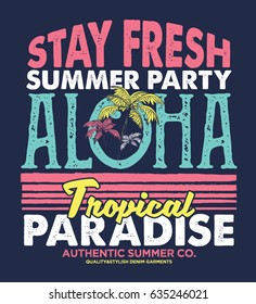 tee print design as vector with palm trees and grunge effected typo