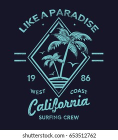 tee print design as vector with palm tree and typo