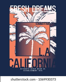 tee print design as vector with typo and palm tree