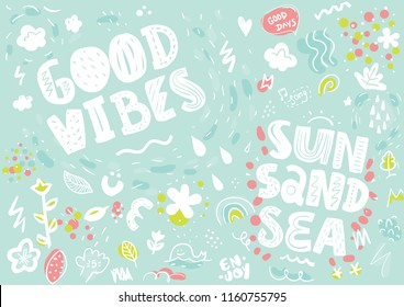 Tee print with slogan. Typography for t shirt, poster or postcard. Good vibes, sun sand sea. Pattern.