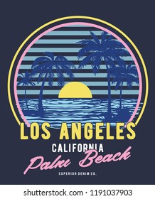 tee print vector design with palm trees and typo