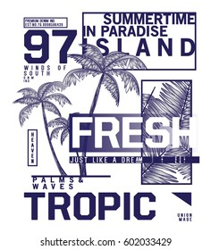 tee print vector design with palm trees as summer concept