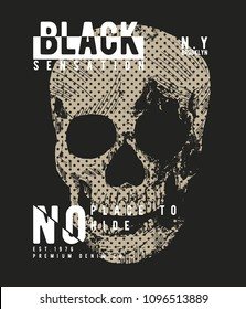 tee print vector design with skull drawn