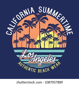 tee print vector design with typo and palms