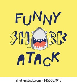 tee print as vector for kids fashion with shark drawing