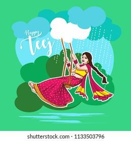 Teej Festival india. woman swing illustration