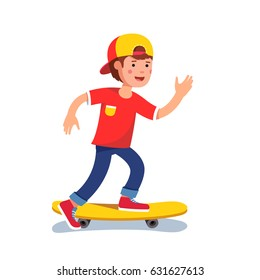 Teen boy in baseball cap riding on skateboard. Kid accelerating doing leg pushing. Young hipster skateboarder. Flat style character vector illustration isolated on white background.