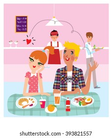 Teen Boy and girl having lunch and dating in a school cafe. Couple friends in college cafe. vector illustration.