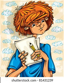 Teen boy, hairy red head, with pencil and paper sheets, young artist. Vector illustration.