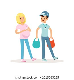 Teen boy helping pregnant woman with shopping packages. Cartoon kid in blue cap, t-shirt and jeans. Teenager volunteer carrying bags with groceries. Flat vector