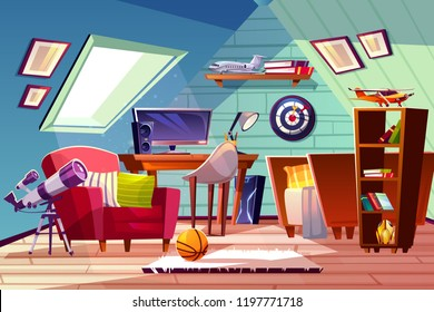 Teen boy kid attic room interior vector illustration. Comfortable bedroom furniture, bookshelf or computer table and armchair with darts board and ball on carpet, telescope at window
