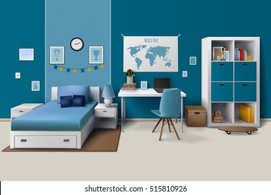 Teen boy room interior design with trendy workspace for homework cupboard and bed in blue realistic vector illustration.