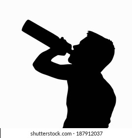 Teen Boy Silhouette Underage Drinking Alcohol from Bottle