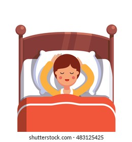 Teen boy sleeping peacefully smiling in her bed. Flat style modern vector illustration isolated on white background.