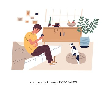 Teen boy surfing internet, listening to music and taking photo of cat at home. Modern teenager sitting on bed and using mobile phone. Colored flat vector illustration isolated on white background