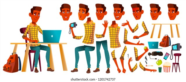 Teen Boy Vector. Animation Creation Set. Indian, Hindu. Asian. Face Emotions, Gestures. Leisure, Smile. Animated. For Web, Poster, Booklet Design. Isolated Cartoon Illustration