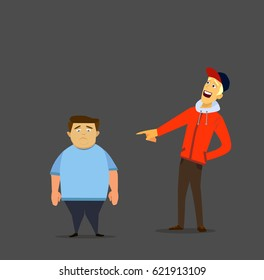 Teen bully laughing at the fat kid. Vector illustration in a flat style