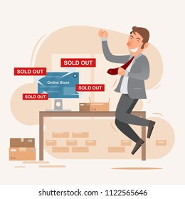 Teen businessman happy smiling character. seller with online store on network. Vector flat cartoon illustration