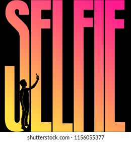 "The teen does selfie on the background of the inscription ""selfie"". Double exposure"