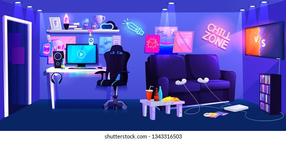 Teen game room interior. Play video games on the console with comfortable sofa and tv and snacks for gamers. Vector cartoon illustration