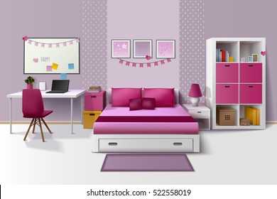 Teen girl room modern interior design with magnetic whiteboard cupboard and bed in pink fuchsia realistic vector illustration